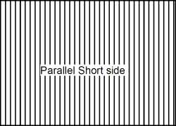 lenticular sheet parallel to short side